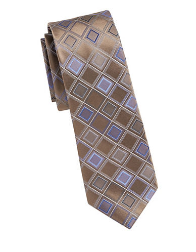 Kenneth Cole Reaction Diamond Print Silk Tie-BEIGE-One Size