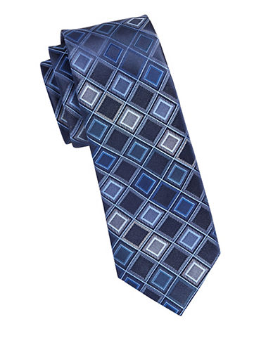 Kenneth Cole Reaction Diamond Print Silk Tie-BLUE-One Size