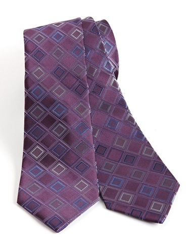 Kenneth Cole Reaction Diamond Print Silk Tie-PURPLE-One Size
