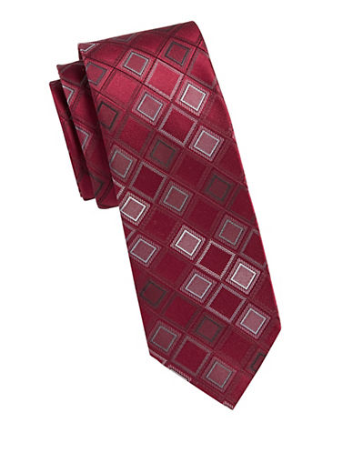 Kenneth Cole Reaction Diamond Print Silk Tie-RED-One Size