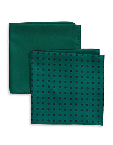 Tommy Hilfiger Two-Piece Mixed Pocket Square Set-GREEN-One Size