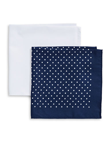 Tommy Hilfiger Two-Piece Mixed Pocket Square Set-BLUE-One Size