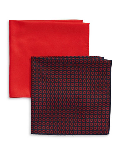 Tommy Hilfiger Two-Piece Mixed Pocket Square Set-RED-One Size