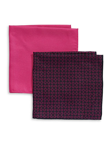 Tommy Hilfiger Two-Piece Mixed Pocket Square Set-BERRY-One Size