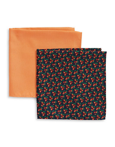 Tommy Hilfiger Two-Piece Mixed Pocket Square Set-ORANGE-One Size