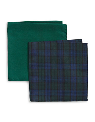 Tommy Hilfiger Two-Piece Mixed Pocket Square Set-NAVY-One Size