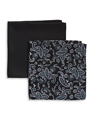 Tommy Hilfiger Two-Piece Mixed Pocket Square Set-BLACK-One Size