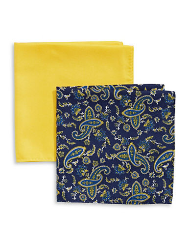 Tommy Hilfiger Two-Piece Mixed Pocket Square Set-YELLOW-One Size