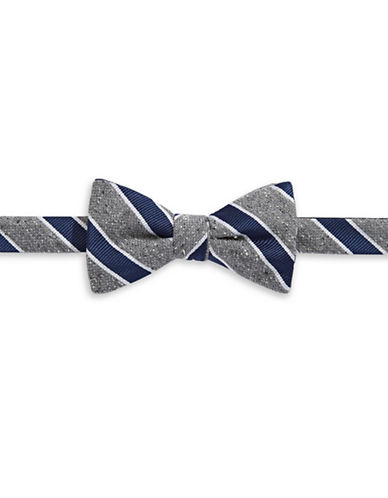 Tommy Hilfiger Pre-Tied Striped Bow Tie-NAVY-One Size