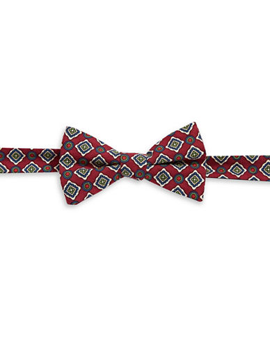 Tommy Hilfiger Pre-Tied Medallion Print  Bow Tie-RED-One Size