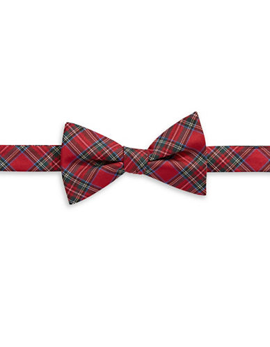 Tommy Hilfiger Pre-Tied Tartan Bow Tie-RED-One Size