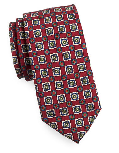 Tommy Hilfiger Graphic Print Tie-RED-One Size