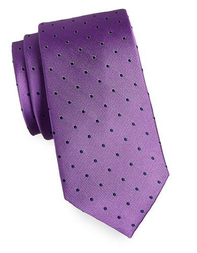 Tommy Hilfiger Dotted Silk Tie-PURPLE-One Size