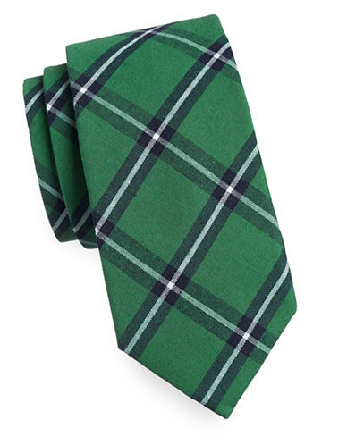 Tommy Hilfiger Tartan Patterned Tie-GREEN-One Size