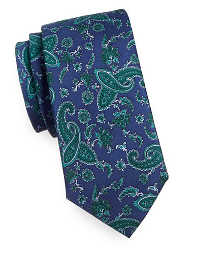 Tommy Hilfiger Paisly Silk Tie-GREEN-One Size