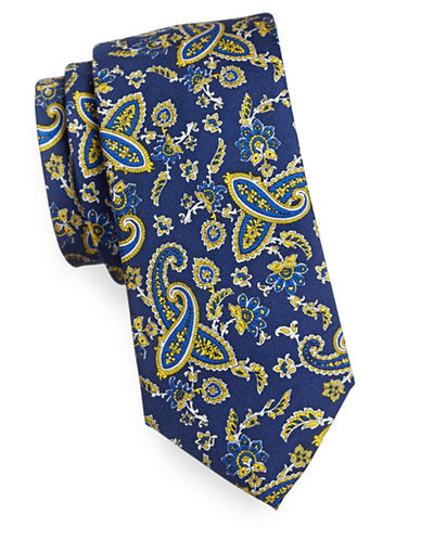 Tommy Hilfiger Paisly Silk Tie-YELLOW-One Size