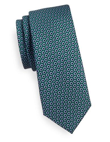 Tommy Hilfiger Geometric Print Slim Silk Tie-GREEN-One Size