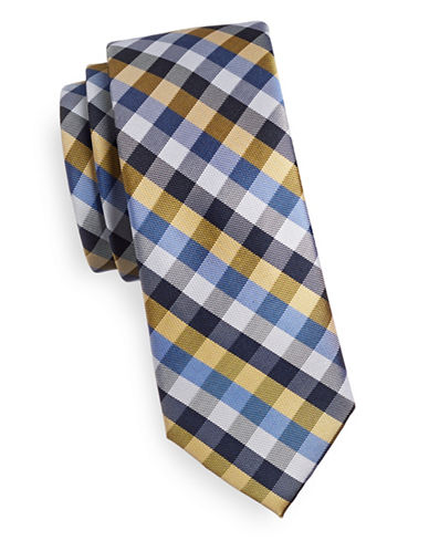 Tommy Hilfiger Slim Gingham Silk Tie-YELLOW-One Size