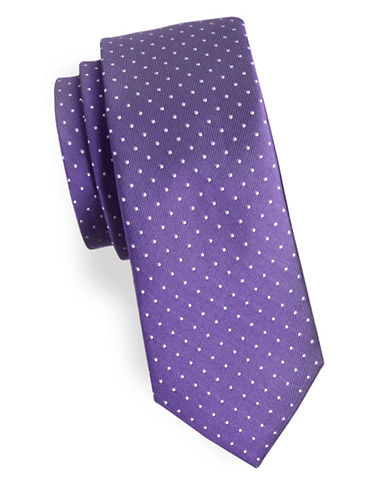 Tommy Hilfiger Mini Dotted Slim Silk Tie-PURPLE-One Size