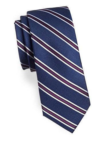 Tommy Hilfiger Repp Striped Slim Silk Tie-PURPLE-One Size
