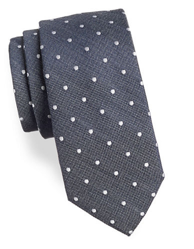 Tommy Hilfiger Textured Dotted Silk-Blend Tie-GREY/WHITE-One Size