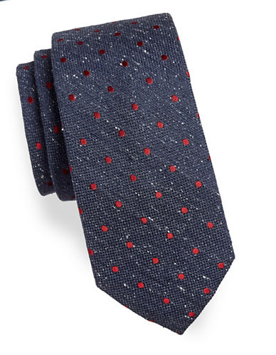 Tommy Hilfiger Textured Dotted Silk Tie-CHARCOAL-One Size