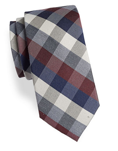 Tommy Hilfiger Textured Checked Wool-Blend Tie-RED-One Size
