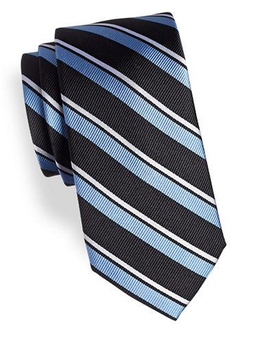 Tommy Hilfiger Textured Silk Striped Tie-BLACK-One Size