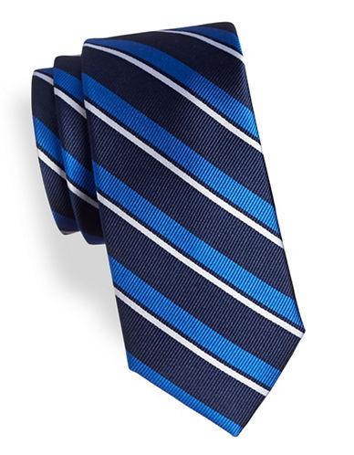 Tommy Hilfiger Textured Silk Striped Tie-BLUE-One Size