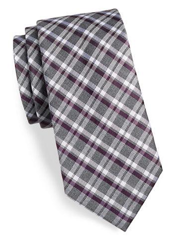 Tommy Hilfiger Plaid Silk-Blend Tie-PURPLE-One Size