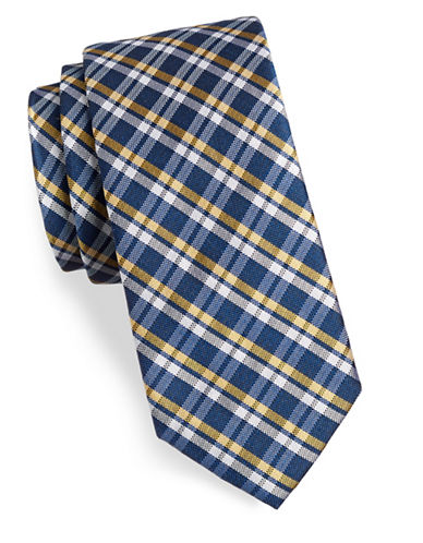 Tommy Hilfiger Plaid Silk-Blend Tie-YELLOW-One Size