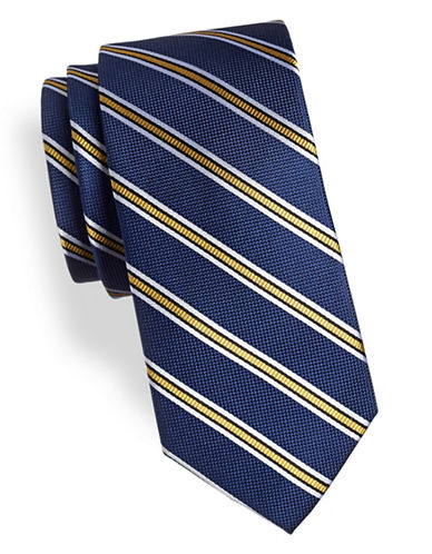 Tommy Hilfiger Balanced Striped Silk Tie-BLUE/YELLOW-One Size
