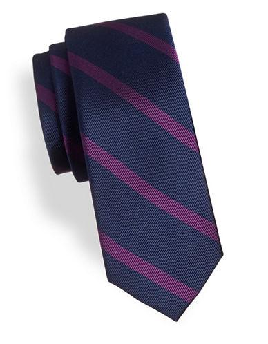 Tommy Hilfiger Textured Striped Slim Silk Tie-PURPLE-One Size