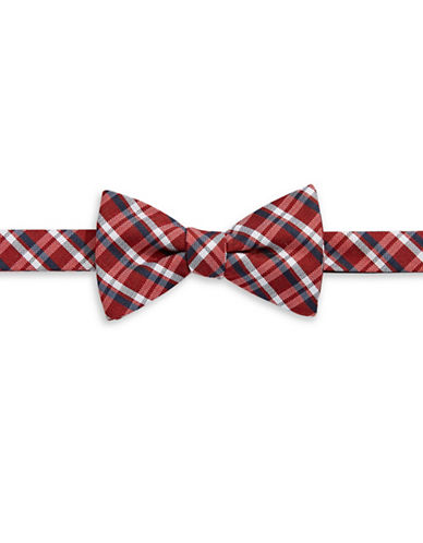 Tommy Hilfiger Pre-Tied Plaid Bow Tie-RED-One Size