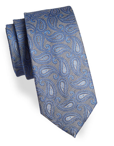 Geoffrey Beene Paisley Silk-Blend Tie-BLUE-One Size