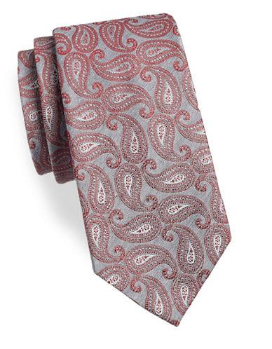 Geoffrey Beene Paisley Silk-Blend Tie-BURGUNDY-One Size