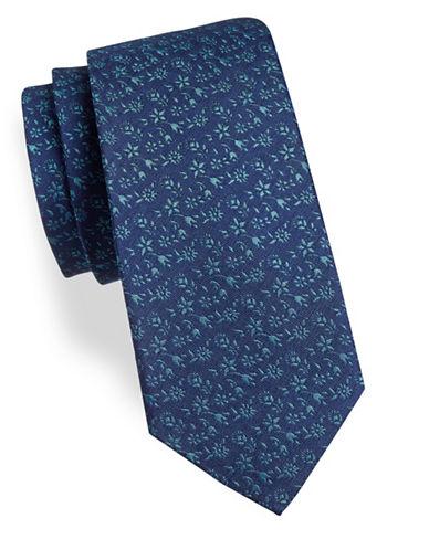 Geoffrey Beene Floral Silk-Blend Tie-BLUE-One Size