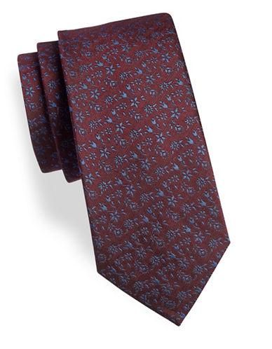 Geoffrey Beene Floral Silk-Blend Tie-RED-One Size