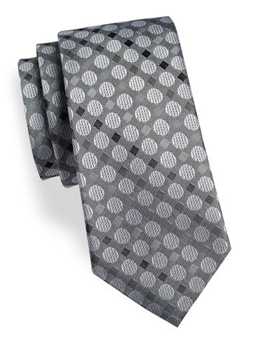 Geoffrey Beene Dot Silk-Blend Tie-GREY-One Size