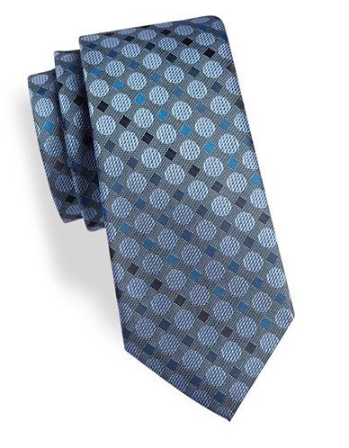 Geoffrey Beene Dot Silk-Blend Tie-BLUE-One Size