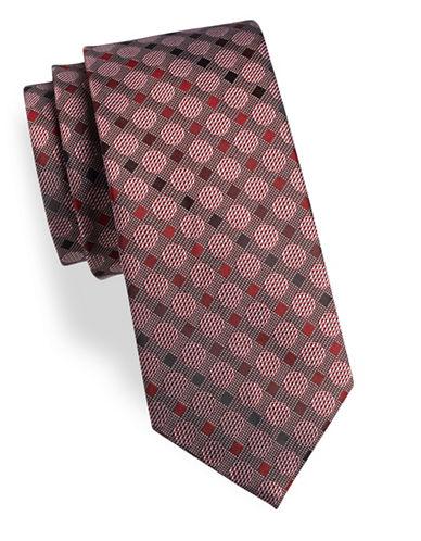 Geoffrey Beene Dot Silk-Blend Tie-RED-One Size