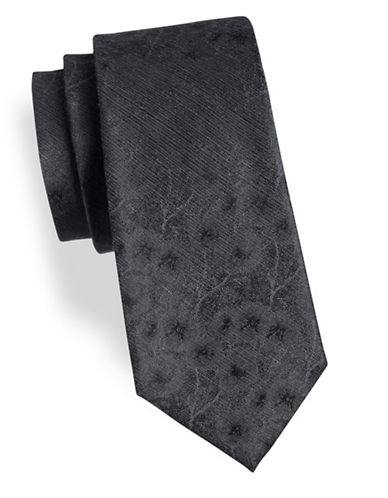Calvin Klein Floral Silk-Blend Tie-BLACK-One Size