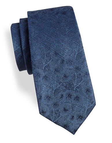 Calvin Klein Floral Silk-Blend Tie-BLUE-One Size