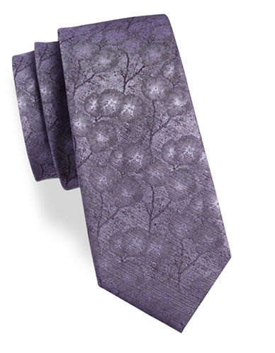 Calvin Klein Floral Silk-Blend Tie-PURPLE-One Size