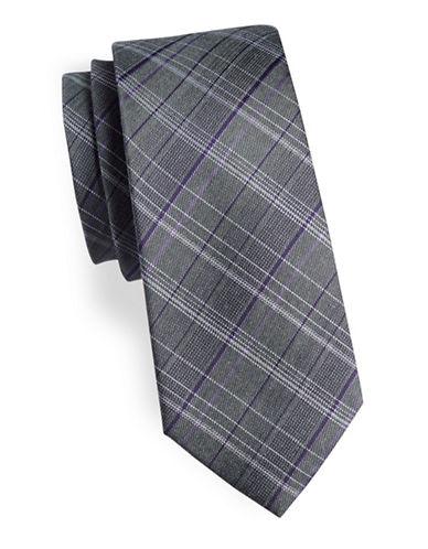 Calvin Klein Plaid Silk-Blend Tie-GREY-One Size