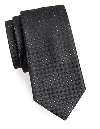 Calvin Klein Plaid Silk Tie-BLACK-One Size