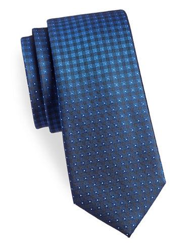 Calvin Klein Plaid Silk Tie-BLUE-One Size