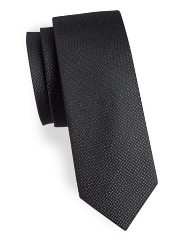 Calvin Klein Slim Metallic Silk-Blend Tie-BLACK-One Size