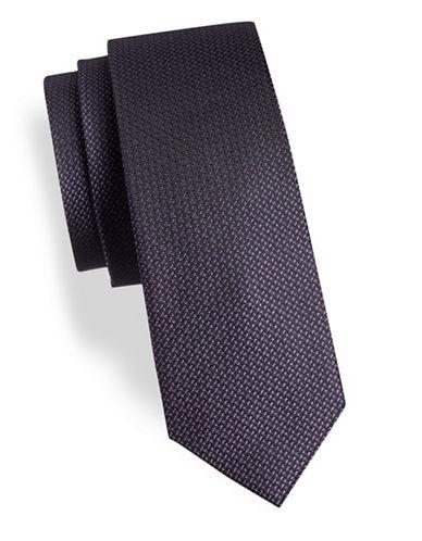 Calvin Klein Slim Metallic Silk-Blend Tie-PURPLE-One Size