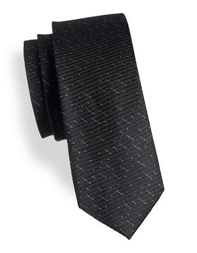 Calvin Klein Slim Speckle Silk Tie-BLACK-One Size